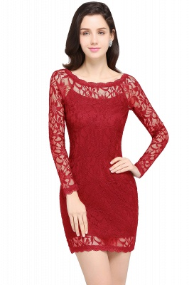 Lace Sheath Sexy Black Homecoming Dresses with Long Sleeves_1