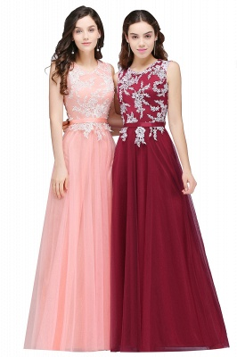 Pink A-line Prom Dress with Lace Appliques In Stock_2