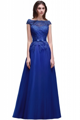 Champagne Evening  Prom Off-the-shoulder Floor-Length with-Belt Lace-Appliques Party Dress_5