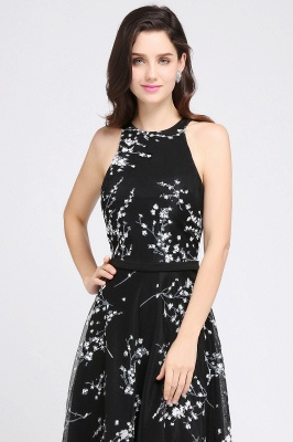 A-line Floor Length Black Evening Dresses with Flowers_4