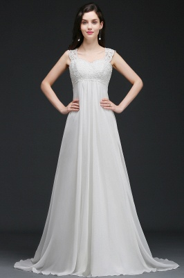 A-Line Sweep Trains Glamorous Wedding Dresses with Lace_2