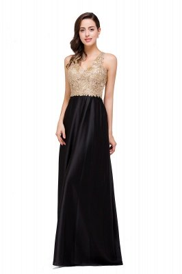 Cheap V-neck Satin Floor-Length A-Line Appliques Backless Prom Dress in Stock_8