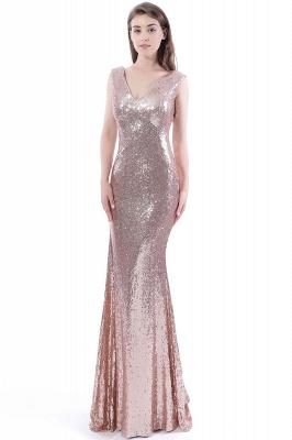 Mermaid Floor Length V-Neck Long Sequins Prom Dresses_5