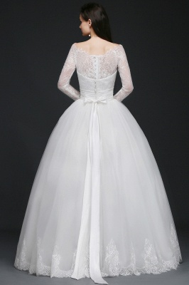 Princess Scoop Tulle White Wedding Dress With Lace_3