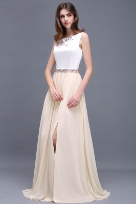 Sheath Jewel White Long Evening Dresses With Beads_5