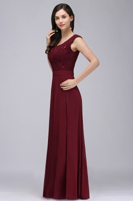 Cheap Elegant Lace A-line Long Burgundy Prom Dress in Stock_8