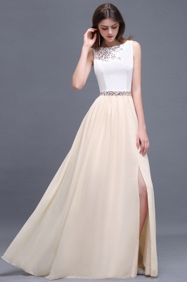 Sheath Jewel White Long Evening Dresses With Beads_2