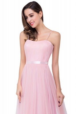 A-line Sweetheart Floor-length Pink Tulle Ruffles Cheap Bridesmaid Dresses_8