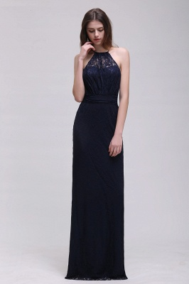 Cheap Pretty Floor length Navy blue Halter Lace Prom Dress in Stock_3