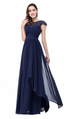 Cheap A-line Ruffles Ribbon Bow Capped Lace Chiffon Bridesmaid Dress in Stock_8