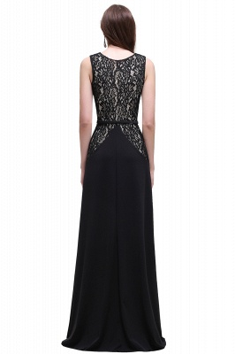 Black Lace V-Neck Long A-line Prom Dress In Stock_3