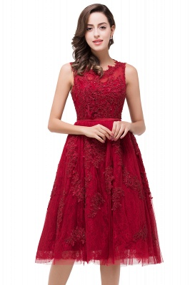 ADELINE | A-line Short Tulle Evening Dress with Appliques_2