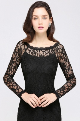 Lace Sheath Sexy Black Homecoming Dresses with Long Sleeves_12