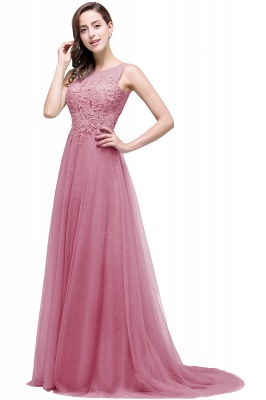 Cheap A-line Court Train Tulle Evening Dress with Appliques in Stock_3