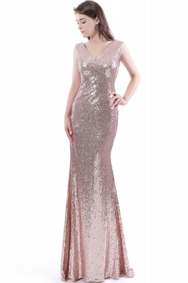 Mermaid Floor Length V-Neck Long Sequins Prom Dresses_4