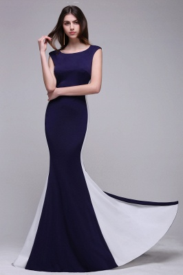 Sheath Scoop Floor-Length Dark Navy Evening Dresses_6