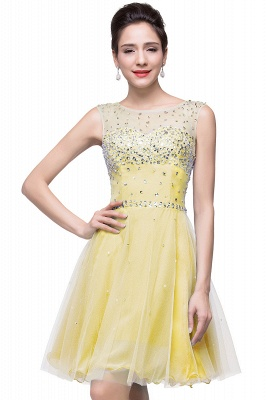 Cheap Open Back Sleeveless Chiffon Homecoming Dress Crystal Beads Tulle Short Prom Dress in Stock_4
