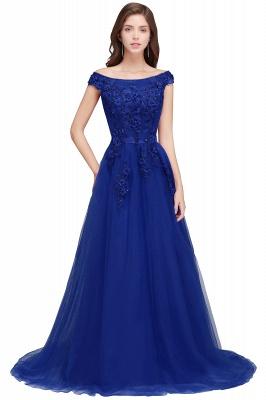 EMBER | A-line Off-shoulder Floor-length Tulle Appliques Prom Dresses_2