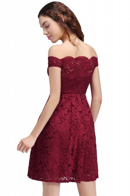 Cheap A-Line Off-the-shoulder Short Burgundy Lace Homecoming Dress in Stock_3