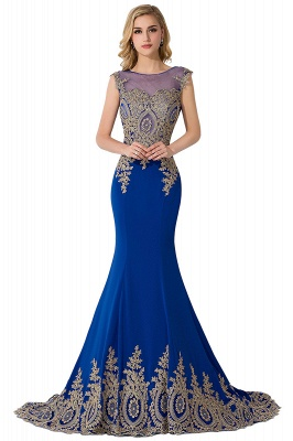 Cheap Mermaid Court Train Chiffon Evening Dress with Appliques in Stock_8