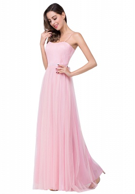 A-line Sweetheart Floor-length Pink Tulle Ruffles Cheap Bridesmaid Dresses_7