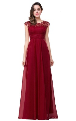 EMMELINE | Affordable A-Line Cap Sleeves Floor-Length Chiffon Prom Dresses_2