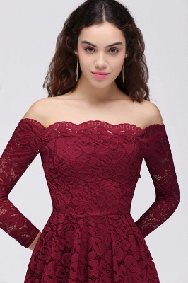 Cheap A-Line Off-the-Shoulder Short Lace Burgundy Homecoming Dress in Stock_5