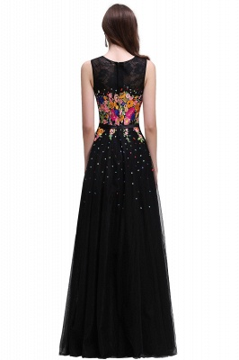 A-line Jewel Neck Tulle Black Prom Dresses with Embroidery Flowers_3