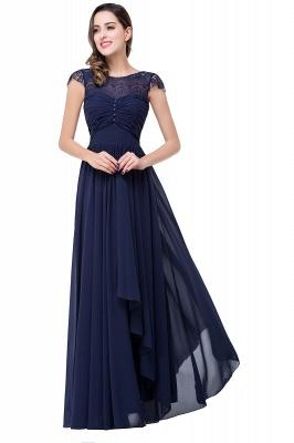 Cheap A-line Ruffles Ribbon Bow Capped Lace Chiffon Bridesmaid Dress in Stock_6