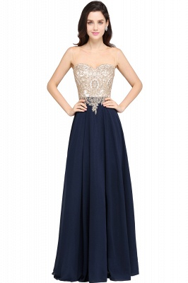 Cheap Sheer Tulle A-line Chiffon Beads Lace Appliques Sleeveless Long Evening Dress in Stock_3