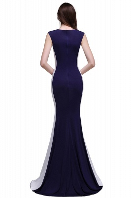 Sheath Scoop Floor-Length Dark Navy Evening Dresses_3