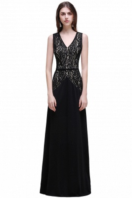 Black Lace V-Neck Long A-line Prom Dress In Stock_1