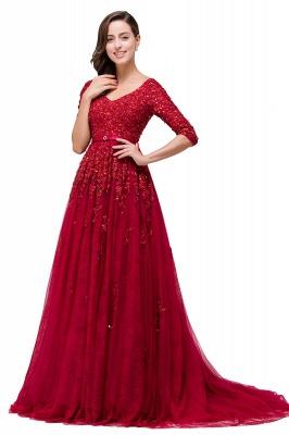 A-Line Floor-Length V-neck Half Sleeves Lace Appliques Prom Dresses_1