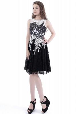 DAHLIA | Short Sheath Sleeveless Black Lace Prom Dresses_6