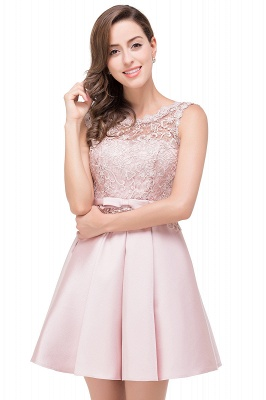 Cheap A-line Knee-length Satin Homecoming Dress with Lace in Stock_9