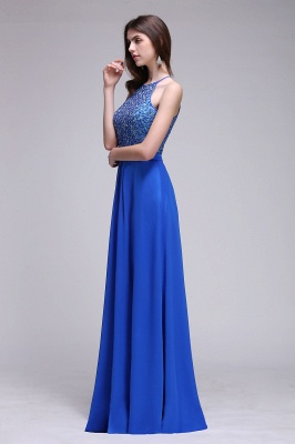CALLIE   A-line Halter Neck Chiffon Royal Blue Prom Dresses with Sequins_7