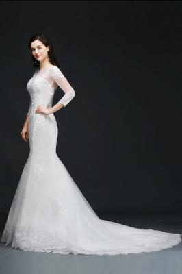 Mermaid Jewel White Wedding Dress With Lace_4