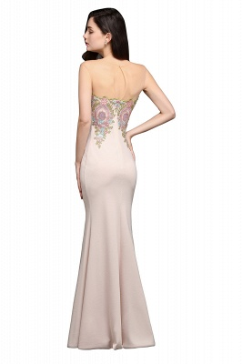 Mermaid Floor Length Pearl Pink Evening Dresses with Appliques_7