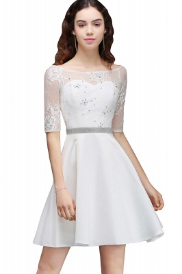 A Line Jewel White Short Sleeve Satin Homecoming Dresses With Lace_1