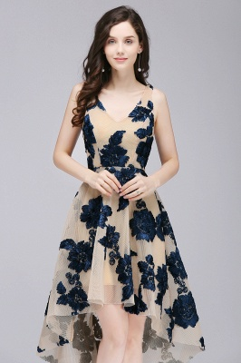 Cheap Short Appliques Tulle V Neck Prom Dress in Stock_6
