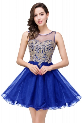 ESTRELLA | A-line Crew Short Sleeveless Appliques Prom Dress_4