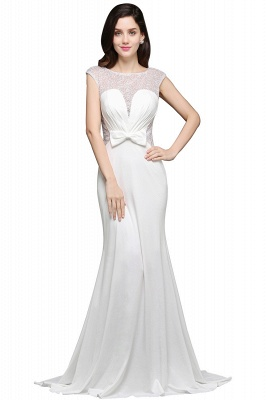 Mermaid Long Sleeve Cap Ivory Chic Sheer Jewel Evening Dresses_1