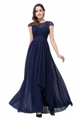 Cheap A-line Ruffles Ribbon Bow Capped Lace Chiffon Bridesmaid Dress in Stock_17