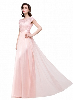 ELLIANA | Elegant Short Sleeves A-line Chiffon Bridesmaid Dresses with Ribbon Bow Sash_11