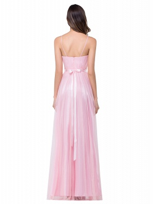 A-line Sweetheart Floor-length Pink Tulle Ruffles Cheap Bridesmaid Dresses_3