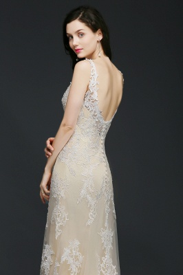 A-line V-Neck Sweep Train Champagne Prom Dresses with Buttons_4