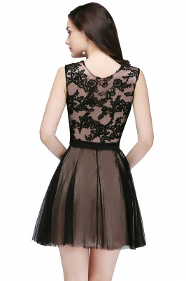 Cheap Short Lace Appliques Tulle Sleeveless Prom Dress in Stock_5