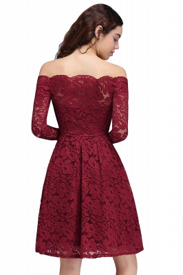 Cheap A-Line Off-the-Shoulder Short Lace Burgundy Homecoming Dress in Stock_3