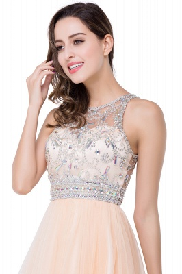 ELISA | A-line Crew Sleeveless Tulle Short Prom Dresses with Beadings_8