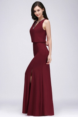 Cheap Front-split Crystal Floor-length V-neck Sleeveless Burgundy A-line Evening Dress in Stock_4
